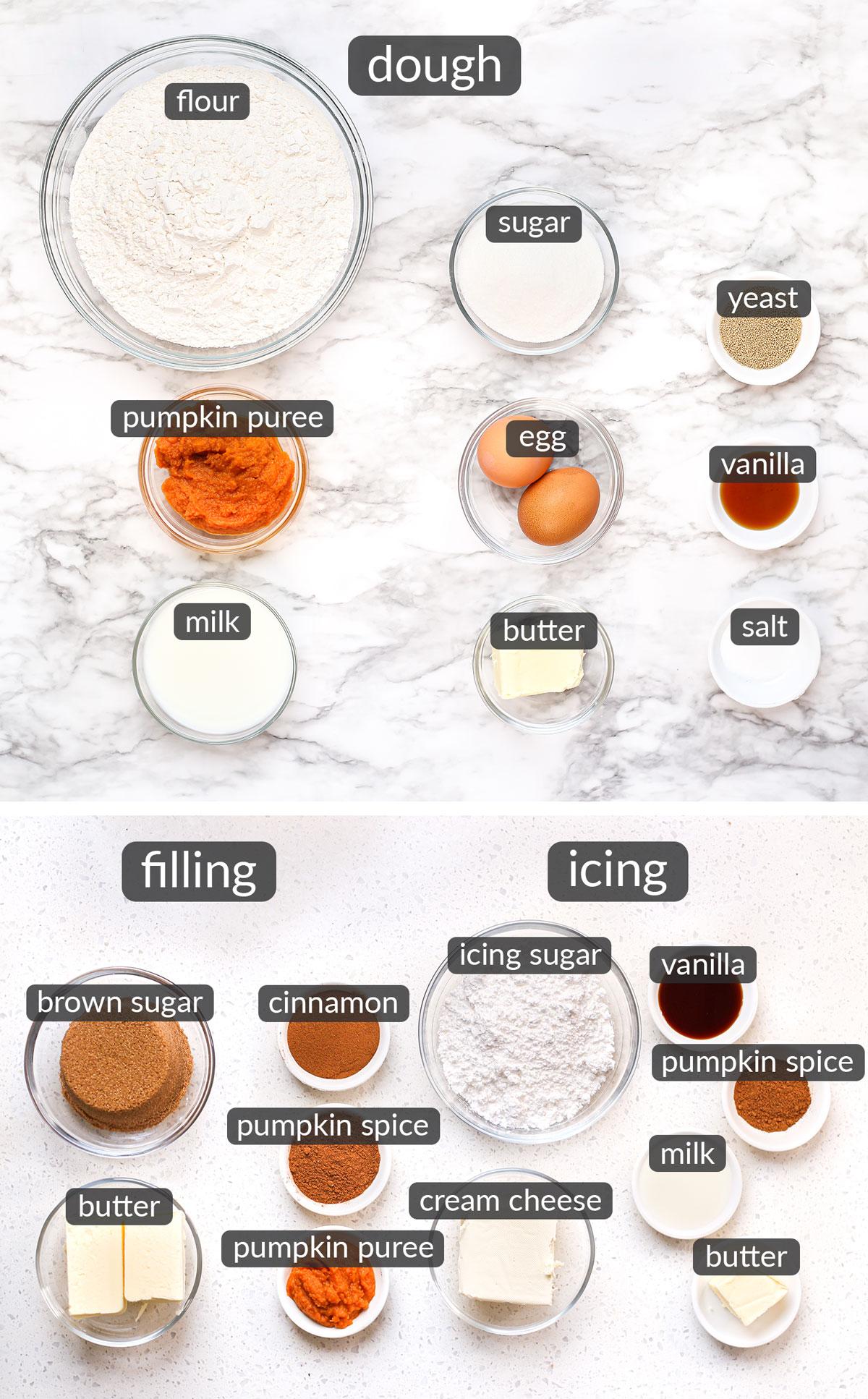 ingredients used to make Pumpkin Spice Cinnamon Rolls