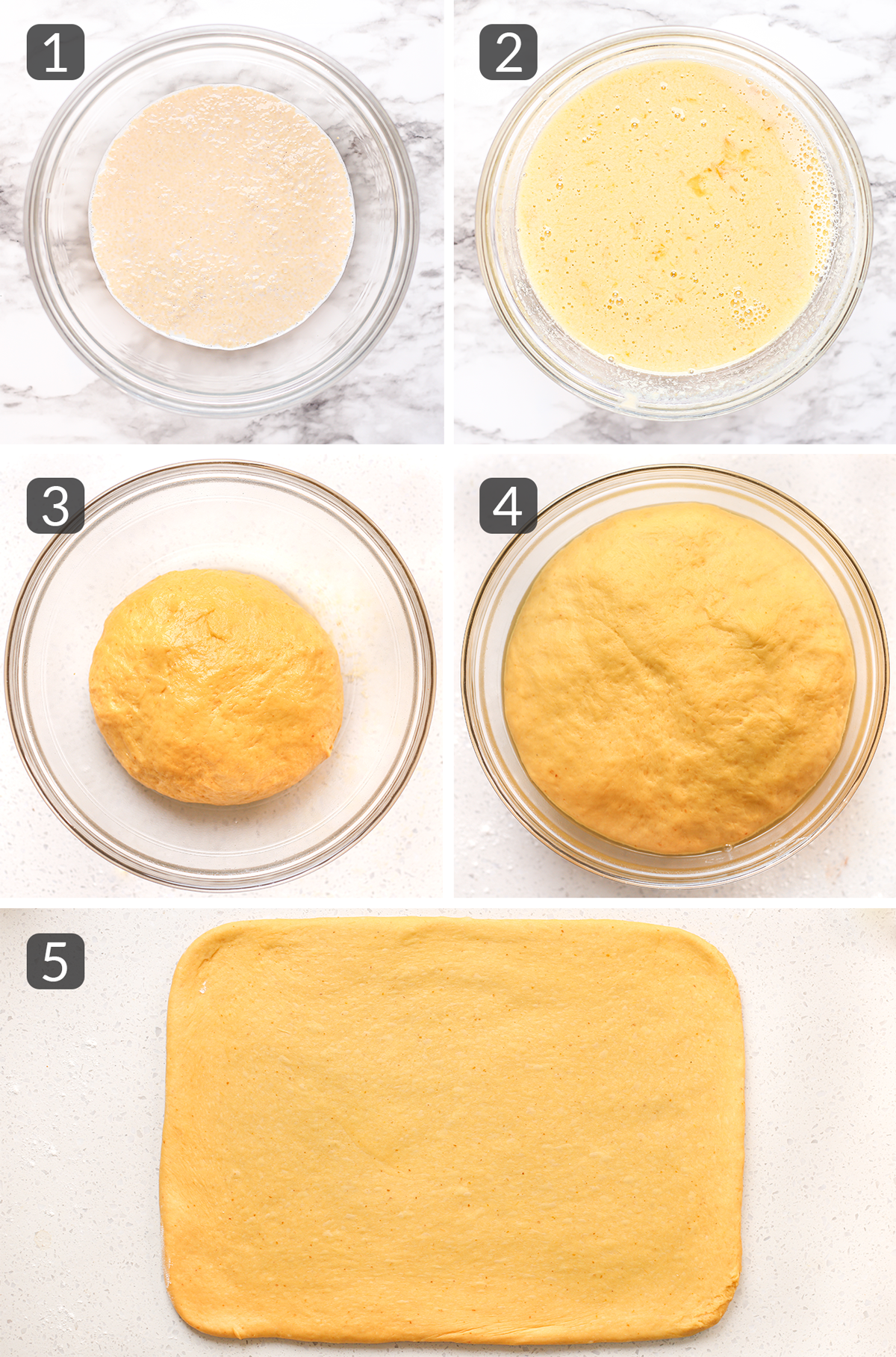 step photos showing how to make dough for cinnamon rolls