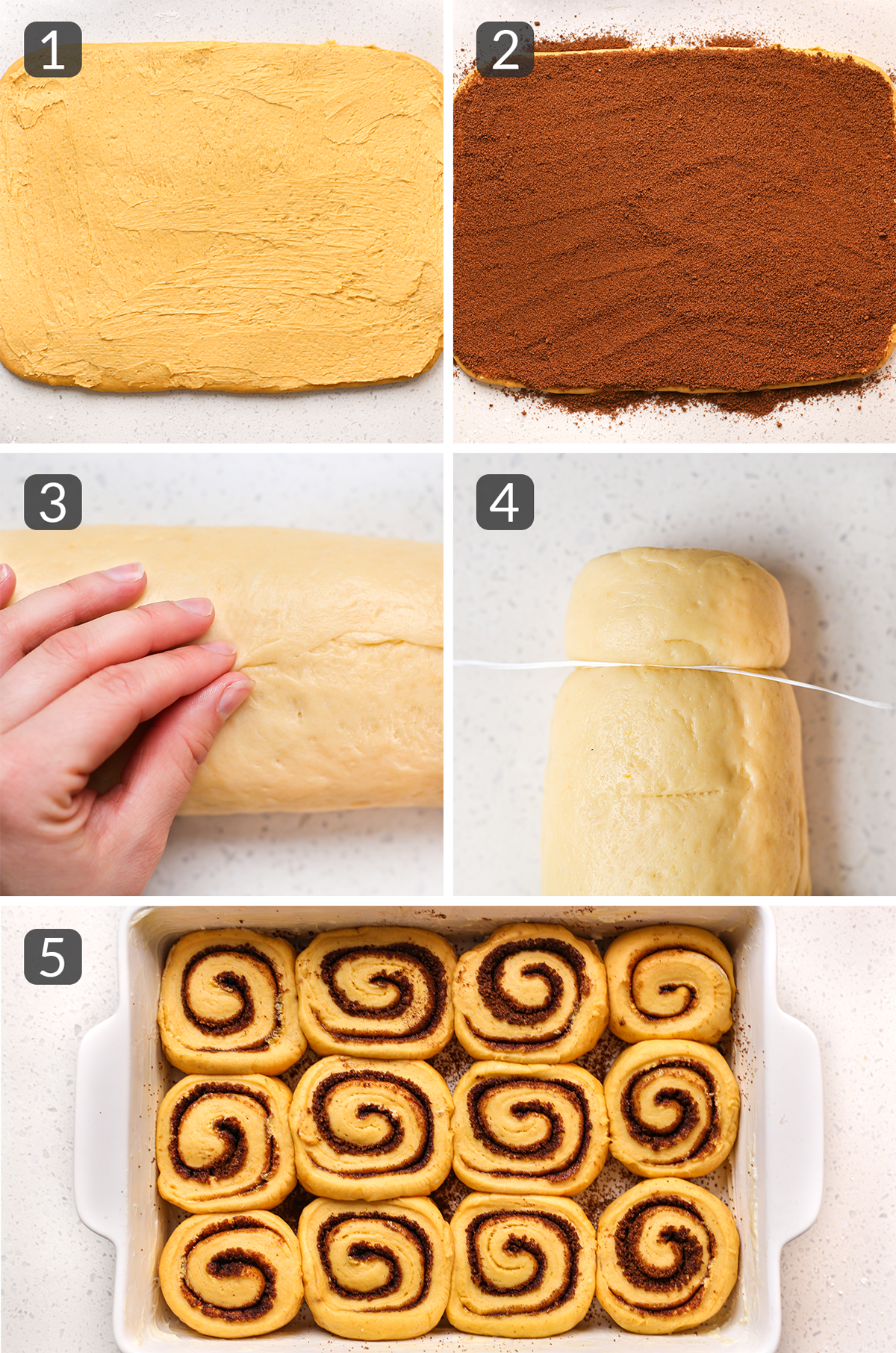 step photos showing how to fill and roll cinnamon rolls
