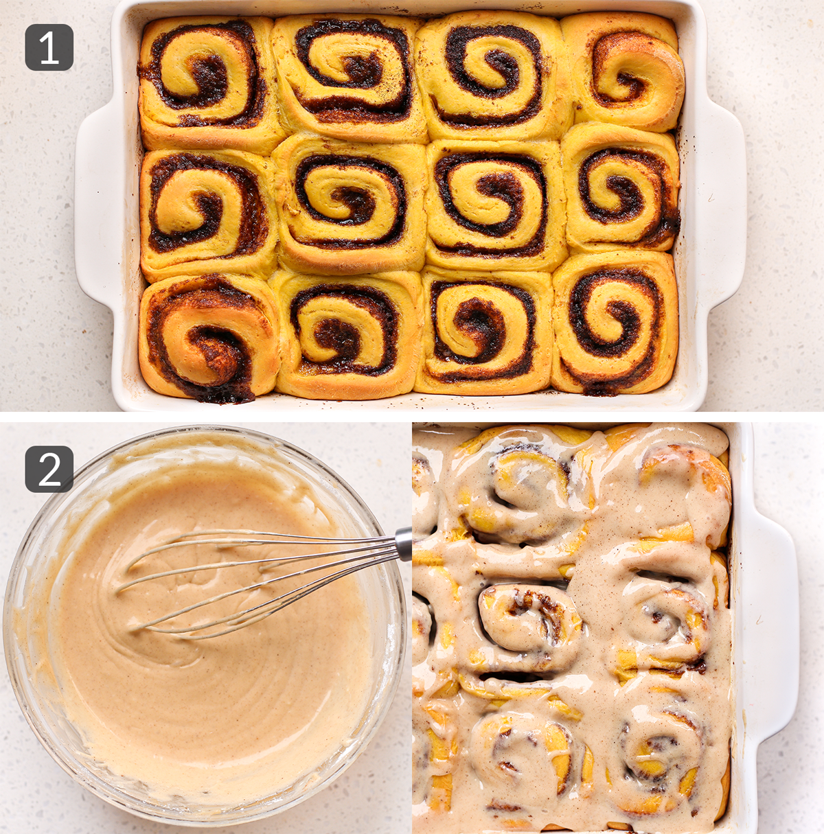 step photos showing how to make icing for Pumpkin Spice Cinnamon Rolls